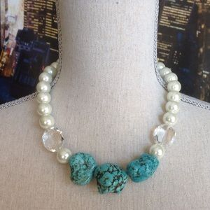 Turquoise Nuggets Pearls Necklace